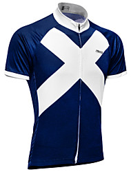 cheap -21Grams Men's Short Sleeve Cycling Jersey Sky Blue+White Scotland National Flag Bike Top Mountain Bike MTB Road Bike Cycling UV Resistant Breathable Moisture Wicking Sports Terylene Clothing Apparel