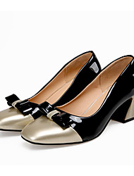 cheap -Women's Heels Chunky Heel Square Toe Patent Leather Sweet Spring & Summer Black / Wine / Blue