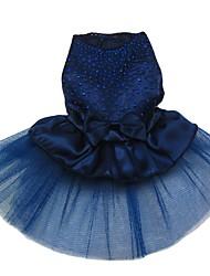 abordables -Chat Chien Robe Vêtements pour Chien Noir / Blanc Doré Rouge Costume Fille Bouledogue Shiba Inu Carlin Nylon Paillette Style classique XS S M L XL