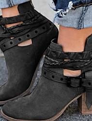 Недорогие -Жен. Ботинки На толстом каблуке Круглый носок Пряжки Замша Ботинки Зима Черный / Красный / Серый