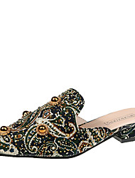 Недорогие -Жен. Башмаки и босоножки На толстом каблуке Заостренный носок Заклепки / Цветы из сатина Сатин Классика / Шинуазери (китайский стиль) Весна & осень Зеленый / Красный / Камуфляж
