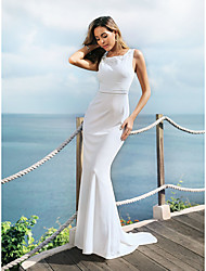 cheap -Mermaid / Trumpet Jewel Neck Sweep / Brush Train Lace Over Satin / Chiffon Over Satin Regular Straps Sexy Made-To-Measure Wedding Dresses with Embroidery 2020
