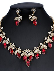 cheap -Women's Blue Red White Bridal Jewelry Sets Link / Chain Floral Theme Luxury Vintage Elegant Earrings Jewelry White / Red / Dark Blue For Christmas Wedding Party Engagement Holiday 1 set