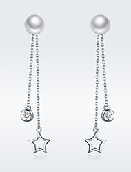 cheap -100% 925 Sterling Silver Twinkle Star Imitation Pearl Long Drop Earrings for Women Clear CZ Luxury Jewelry Brincos SCE069