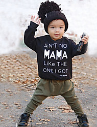 cheap -Baby Boys' Casual / Active Solid Colored / Print Print Long Sleeve Regular Clothing Set Black