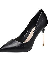 cheap -Women's Heels Stiletto Heel Pointed Toe PU(Polyurethane) Sweet / Minimalism Spring &  Fall Black / Almond