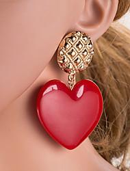 cheap -Women's White Drop Earrings Geometrical Heart Simple Vintage European Romantic Elegant Gold Plated Earrings Jewelry Light Pink / White / Purple For Daily 1 Pair