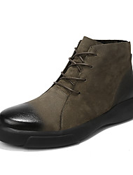 cheap -Men's Combat Boots Nappa Leather Spring & Summer / Fall & Winter Casual / British Boots Breathable Mid-Calf Boots Black / Khaki / Office & Career