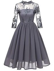 cheap -Women's Chiffon Dress - Solid Colored Wine Navy Blue S M L XL
