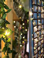 cheap -2M 3M 5M 10M Ivy Leaf Garland Holiday String Lamp AA Battery Operate Copper LED Fairy String Lights For Christmas Xmas Decor Lighting Home New Year Warm White Led