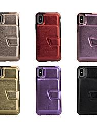 Недорогие -чехол для apple iphone xs / iphone xr / iphone xs max / 7 8 plus / 6splus / 6s кошелек / держатель карты / зеркало задняя крышка блестящий блеск искусственная кожа