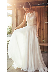 cheap -A-Line Jewel Neck Court Train Chiffon / Tulle Spaghetti Strap Sexy / Beautiful Back Made-To-Measure Wedding Dresses with Appliques / Buttons / Lace 2020