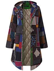 abordables -Femme Quotidien Basique Grandes Tailles Longue Veste, Géométrique Capuche Manches Longues Polyester Rouge / Vert