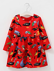 cheap -Kids Girls' Bird Knee-length Dress Red