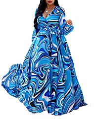 cheap -Women's Maxi Plus Size Blue Dress Boho Street chic Shift Swing Floral Plaid Deep V M L