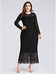 cheap -Sheath / Column Plus Size Black Wedding Guest Formal Evening Dress Jewel Neck Long Sleeve Ankle Length Lace with Lace Insert 2020