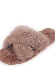 cheap -Women's Slippers & Flip-Flops Flat Heel Round Toe Rubber Casual Spring / Fall & Winter Black / Beige / Khaki