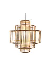 cheap -1-Light Country Bamboo Woven Pendant Light Dining Room Pendant Lighting Round Restaurant Suspension Lights