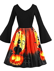 cheap -Women's Black Dress Halloween A Line Animal V Neck S M
