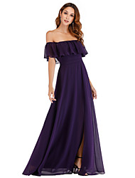 cheap -A-Line Off Shoulder Floor Length Chiffon Cute / Elegant Prom Dress 2020 with Ruffles