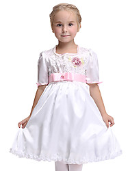cheap -Princess Dress Flower Girl Dress Kid's Girls' A-Line Slip Halloween Halloween Festival / Holiday Spandex Polyester / Polyamide White Carnival Costumes / Belt / Belt / Satin