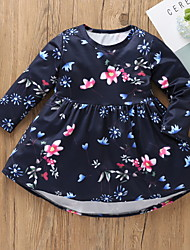 cheap -Kids Girls' Basic Floral Long Sleeve Knee-length Dress Blue