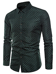 cheap -Men's Plus Size Polka Dot Shirt Basic Daily Holiday Going out Classic Collar Green / Long Sleeve