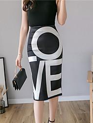 Недорогие -Жен. Облегающий силуэт Подол Цветочный принт С принтом Черный L XL XXL