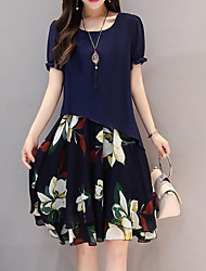 cheap -Women's Plus Size Chiffon Dress - Floral Black Blue M L XL XXL