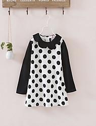 cheap -Kids Toddler Girls' Basic Cute Polka Dot Ruffle Long Sleeve Above Knee Dress Black