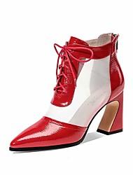 Недорогие -Жен. Ботинки На толстом каблуке Сетка / Полиуретан Осень / Весна лето Черный / Красный