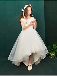 cheap -Princess Asymmetrical Flower Girl Dress - Lace / Organza / Taffeta Half Sleeve Off Shoulder with Appliques / Lace / Crystals / Rhinestones by LAN TING Express