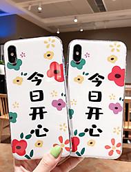 Недорогие -Кейс для Назначение Apple iPhone XS / iPhone XR / iPhone XS Max IMD / Ультратонкий / С узором Кейс на заднюю панель Слова / выражения / Мультипликация / Цветы ТПУ