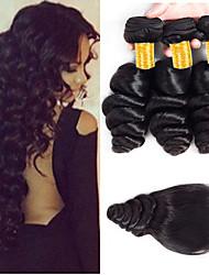 cheap -3 Bundles with Closure Peruvian Hair Loose Wave Remy Human Hair 100% Remy Hair Weave Bundles Natural Color Hair Weaves / Hair Bulk Bundle Hair Human Hair Extensions 8-24 inch Black Natural Color