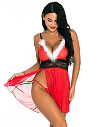 cheap -Santa Suit Dress Cosplay Costume Christmas Dress Adults' Women's Cosplay Vacation Dress Christmas Christmas Festival Christmas Halloween Carnival Festival / Holiday Lace Polyster Red Women's Easy