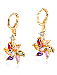 cheap -Women's Drop Earrings Sculpture Flower Tropical Fashion Colorful Stainless Steel Imitation Diamond Earrings Jewelry Gold For Party Engagement Club Bar Promise 1 Pair