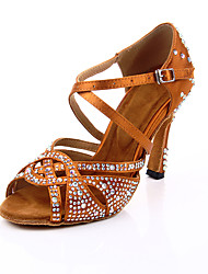 cheap -Women's Dance Shoes Satin Latin Shoes Crystals / Crystal / Rhinestone Heel Flared Heel Customizable Brown / Performance / Leather
