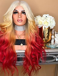 cheap -Synthetic Wig Ombre Body Wave Free Part Wig Ombre Long Rainbow Synthetic Hair 26inch Women's Odor Free Normal Fashionable Design Ombre / Heat Resistant / Heat Resistant