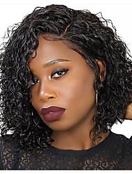 cheap -Human Hair Full Lace Wig Pixie Cut Side Part style Brazilian Hair Water Wave Black Wig 130% Density Women Women's Long Human Hair Lace Wig Clytie