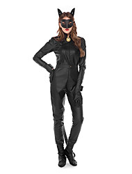 cheap -Catwoman Cosplay Costume Masquerade Adults' Women's Cosplay Halloween Halloween Festival / Holiday Cotton Polyster Black Women's Carnival Costumes / Leotard / Onesie / Gloves / Belt / Mask / Earring