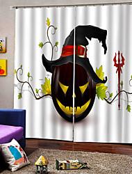 abordables -2019 nouvelles fenêtres rideaux heureux thème Halloween fond noir citrouille rideau épaississement blackout antipoussière 100% polyester rideau