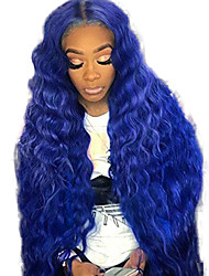 Недорогие -Синтетические кружевные передние парики Волнистый Средняя часть Лента спереди Парик Длинные Синий Искусственные волосы 18-26 дюймовый Жен. Регулируется Жаропрочная Для вечеринок Синий