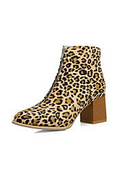 cheap -Women's Boots Print Shoes Chunky Heel Pointed Toe PU Booties / Ankle Boots Fall & Winter Black / Leopard / Yellow