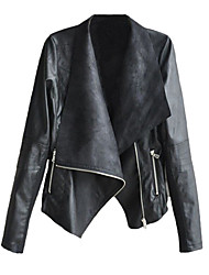 cheap -Women's Daily Fall & Winter Regular Leather Jacket, Solid Colored Turndown Long Sleeve PU Black / Yellow / Beige / Slim