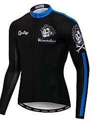 cheap -21Grams Skull Men's Long Sleeve Cycling Jersey - Black Bike Jersey Top UV Resistant Breathable Moisture Wicking Sports Winter Fleece Polyester Elastane Mountain Bike MTB Road Bike Cycling Clothing