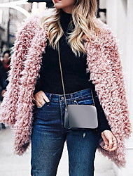 cheap -Women's Daily Fall & Winter Regular Faux Fur Coat, Solid Colored Collarless Long Sleeve Faux Fur Black / Blushing Pink / Gray
