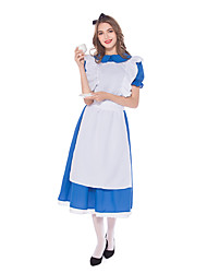 cheap -Maid Costume Cosplay Costume Masquerade Adults' Women's Cosplay Halloween Halloween Festival / Holiday Cotton Polyster Blue Women's Carnival Costumes