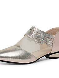 cheap -Women's Loafers & Slip-Ons Mesh Spring &  Fall Low Heel Pointed Toe Business Minimalism Daily Office & Career Solid Colored Nappa Leather / Mesh Black / Beige