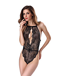 cheap -Women's Lace / Backless / Cut Out Bodysuits Nightwear Jacquard / Solid Colored Purple Red Blue S M L