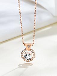 abordables -nouvel argent 925 bijoux circulaire zircon super brillant zircon cubique pendentif de mode collier pour femmes taille de pendentif d'environ 9,7 mm * 12,4 mm longueur de chaîne d'environ 45 cm (y
